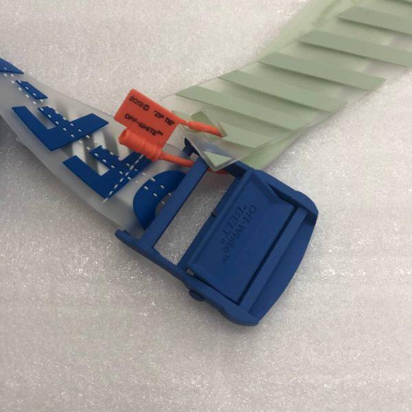 Blue Rubber Belt Off White Industrial Streetwear Accessories