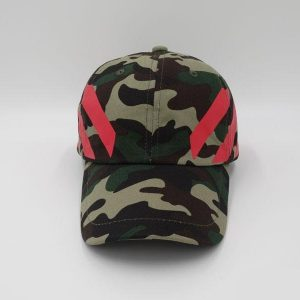 Camouflage Off-White Stripe Baseball Cap Red Striped Diagonals Hat 2