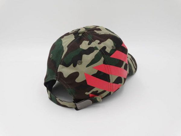 Camouflage Off-White Stripe Baseball Cap Red Striped Diagonals Hat