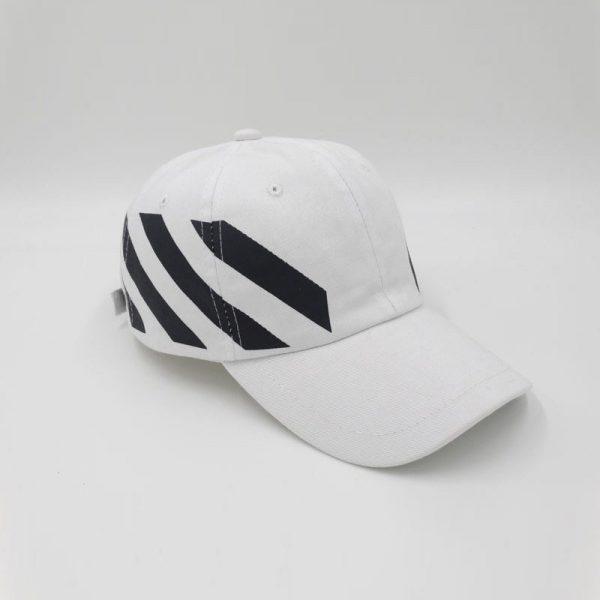 White Off-White Stripe Baseball White Cap Red hat Striped Diagonals